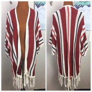 JACK striped knit open front cardigan, fringe